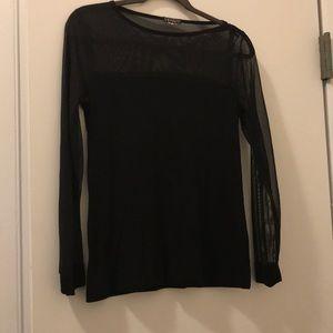 Black longsleeve top, sheer shoulders, sleeves
